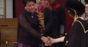 Video: Leicester awards late Mahama degree