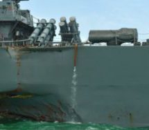 US Navy ship and oil tanker collide near Singapore